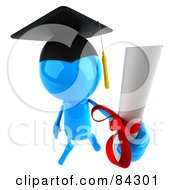 Royalty Free RF Clipart Illustration Of A 3d Blue Bob Character Graduate Holding Out A Diploma by Julos