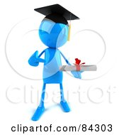 Royalty Free RF Clipart Illustration Of A 3d Blue Bob Character Graduate Pointing To A Diploma by Julos