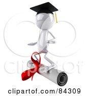 Royalty Free RF Clipart Illustration Of A 3d White Bob Character Surfing On A Diploma by Julos