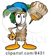 Palm Tree Mascot Cartoon Character Catching A Baseball With A Glove