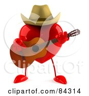 3d Red Heart Character Country Guitarist