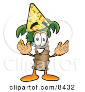 Palm Tree Mascot Cartoon Character Wearing A Birthday Party Hat