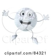 Royalty Free RF Clipart Illustration Of A 3d Golf Ball Character Jumping Into The Air