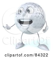 Royalty Free RF Clipart Illustration Of A 3d Golf Ball Character Looking Left And Gesturing