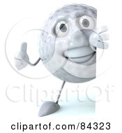 Royalty Free RF Clipart Illustration Of A 3d Golf Ball Character Smiling Around A Blank Sign