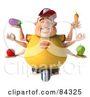 Relaxed 3d Chubby Burger Man With Six Arms Holding Healthy Food
