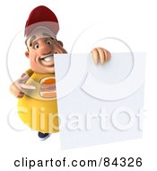 3d Chubby Burger Man Presenting A Blank Sign
