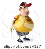 3d Chubby Burger Man Standing And Looking Right