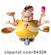 Screaming 3d Chubby Burger Man With Six Arms Holding Unhealthy Food