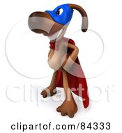 Royalty Free RF Clipart Illustration Of A 3d Brown Pooch Super Hero Smiling And Facing Left
