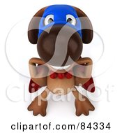 Royalty Free RF Clipart Illustration Of A 3d Brown Pooch Super Hero Smiling Upwards