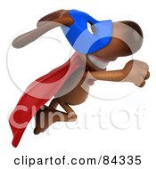 Royalty Free RF Clipart Illustration Of A 3d Brown Pooch Super Hero Flying Right