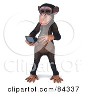 Royalty Free RF Clipart Illustration Of A 3d Chimp Character Texting On A Cell Phone