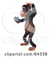 Royalty Free RF Clipart Illustration Of A Confused 3d Chimp Character Using A Cell Phone