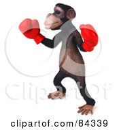 Royalty Free RF Clipart Illustration Of A Boxing 3d Chimp Character Pose 2