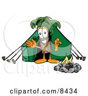 Palm Tree Mascot Cartoon Character Camping With A Tent And Fire