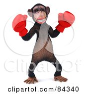Royalty Free RF Clipart Illustration Of A Boxing 3d Chimp Character Pose 1