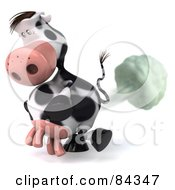 Royalty Free RF Clipart Illustration Of A Flatulent 3d Horton The Cow Facing Left And Farting