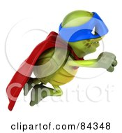Royalty Free RF Clipart Illustration Of A 3d Chuck Tortoise Super Hero Flying To The Right