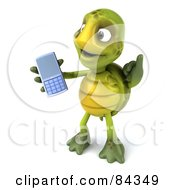 Royalty Free RF Clipart Illustration Of A 3d Chuck Tortoise Holding A Cell Phone Facing Left And Gesturing Call Me