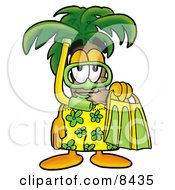 Palm Tree Mascot Cartoon Character In Green And Yellow Snorkel Gear