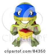 Royalty Free RF Clipart Illustration Of A 3d Chuck Tortoise Super Hero Smiling Upwards