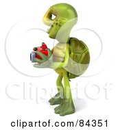 Royalty Free RF Clipart Illustration Of A 3d Green Tortoise Character Using A Camera Facing Left