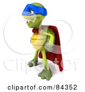 Royalty Free RF Clipart Illustration Of A 3d Chuck Tortoise Super Hero Standing And Looking Left
