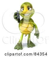 Royalty Free RF Clipart Illustration Of A 3d Chuck Tortoise Holding A Cell Phone Facing Front