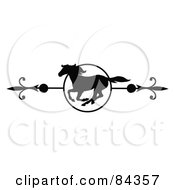 Royalty Free RF Clipart Illustration Of A Black And White Galloping Horse Page Divider Or Website Header by C Charley-Franzwa #COLLC84357-0078