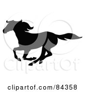Royalty Free RF Clipart Illustration Of A Black Galloping Horse Silhouette