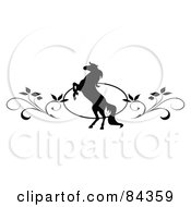 Royalty Free RF Clipart Illustration Of A Black And White Rearing Horse And Vine Website Header Or Page Divider