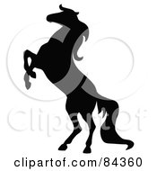 Royalty Free RF Clipart Illustration Of A Black Rearing Horse Silhouette by C Charley-Franzwa #COLLC84360-0078