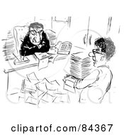 Royalty Free RF Clipart Illustration Of A Black And White Sketch Of A Grumpy Boss Watching His Assistant Bring In Paperwork