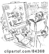 Royalty Free RF Clipart Illustration Of A Black And White Sketch Of A Man Reading And Smoking In His Office