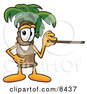 Palm Tree Mascot Cartoon Character Holding A Pointer Stick