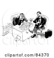 Royalty Free RF Clipart Illustration Of A Black And White Sketch Of An Annoying Man Taking All Of A Businessmans Money by Alex Bannykh
