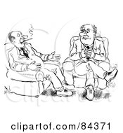 Royalty Free RF Clipart Illustration Of A Black And White Sketch Of Two Businessmen Sitting In Chairs And Smoking