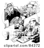 Royalty Free RF Clipart Illustration Of A Black And White Sketch Of Two Businessmen One Happy The Other Throwing A Fit