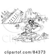 Royalty Free RF Clipart Illustration Of A Black And White Sketch Of A Businessman On A Phone By A Sinking Ship by Alex Bannykh