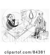 Royalty Free RF Clipart Illustration Of A Black And White Sketch Of A Man Reading A Stressed Applicants Resume