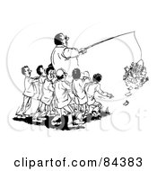 Royalty Free RF Clipart Illustration Of A Black And White Sketch Of Men Helping Their Boss Grab Money With A Pole by Alex Bannykh