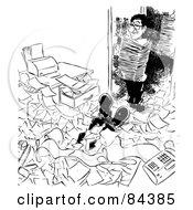 Royalty Free RF Clipart Illustration Of A Black And White Sketch Of A Mans Legs Buried In Paperwork An Assistant Bringing In More by Alex Bannykh #COLLC84385-0056