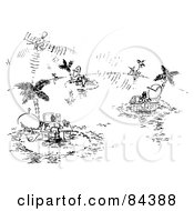 Royalty Free RF Clipart Illustration Of A Black And White Sketch Of People Working At Desks On Tropical Islands by Alex Bannykh
