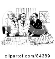 Royalty Free RF Clipart Illustration Of A Black And White Sketch Of Three Businessmen Discussing A Chart by Alex Bannykh