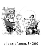 Royalty Free RF Clipart Illustration Of A Black And White Sketch Of A Job Applicant Winning Over A Businessman