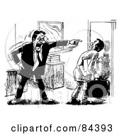 Royalty Free RF Clipart Illustration Of A Black And White Sketch Of An Angry Boss Pointing And Firing An Employee by Alex Bannykh