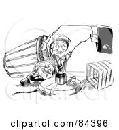 Royalty Free RF Clipart Illustration Of A Black And White Sketch Of A Hand Screwing In A Young Businessman Light Bulb