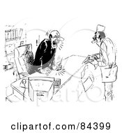 Royalty Free RF Clipart Illustration Of A Black And White Sketch Of An Angry Businessman Shouting At A Doctor by Alex Bannykh