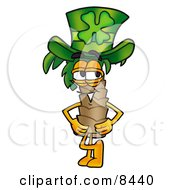 Palm Tree Mascot Cartoon Character Wearing A Saint Patricks Day Hat With A Clover On It